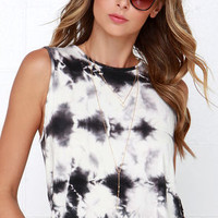 Obey Blindsight Black and Ivory Tie-Dye Top