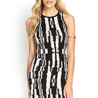 FOREVER 21 Abstract Sweater Dress Black/Taupe