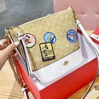 Coach fashion printed LOGO cartoon Mosaic casual lady bucket bag