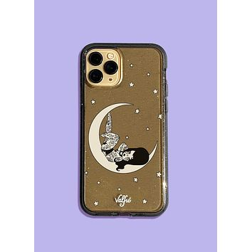 Over The Moon Glitter Phone Case