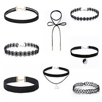 2016 8pcs Black Velvet Choker Necklace Lace Chocker Chokers Necklaces For Women Long Tattoo Choker collares Collier Femme