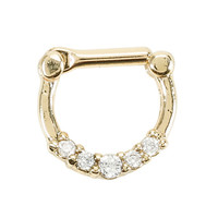 Steel Gold Clear CZ Septum Clicker
