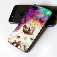 Dolla Dolla Bill Sloth Astronaut in Galaxy Nebula - iPhone Case Print on Hard Cover - iPhone 4 Case - iPhone 4S Case - iPhone 5 Case