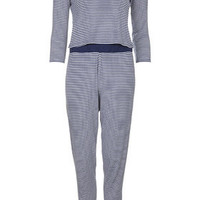Striped Crop Top and Trousers Pyjama Set - Blue