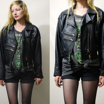 90s Vintage LEATHER JACKET Biker Motorcycle Womens Cropped Black Belt Zips Grunge Goth 1990s vtg S M