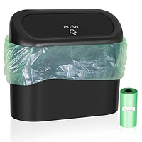 Wontolf Car Trash Can Bin with Lid Small Leakproof Car Garbage Can Mini Vehicle Trash Bin w/ 30pcs Car Trash Bags Garbage Dustbin Organizer Container for Car Office Kitchen Bedroom Home