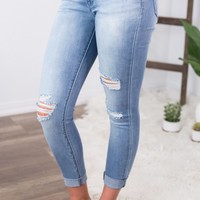 Kan Can Light Wash Distressed Skinny