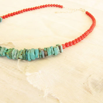 Turquoise Red Coral Square Turquoise Heishi Sterling Heart Chain Necklace Southwestern Free shipping