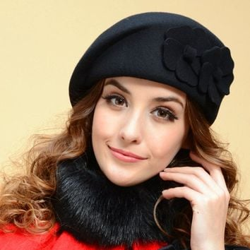 Ladies Winter Stylish Wool England Style Hats [110447919129]