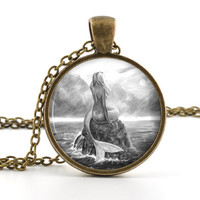 Black and White Mermaid Pendant - Necklace - Classic Mythological Creature Ocean Art - Mermaid Jewelry - Glass Dome - Gift Bag Included