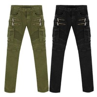 spbest Denim Biker men Skinny Jeans Runway Distressed