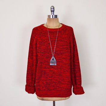 Vintage 80s 90s Heather Red Sweater Jumper Slouchy Oversize Sweater Boyfriend Sweater 90s Grunge Sweater Hipster Sweater Men Women S M L