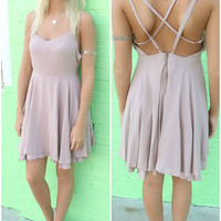 Lambert Cove Mocha Criss Cross Back Flare Dress