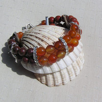 "Gemstone Crystal Bracelet - Carnelian, Poppy Jasper & Red Jasper ""Glowing Embers"" - Special Offer Price"