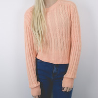 Vintage Peach Cable Knit Solid Sweater