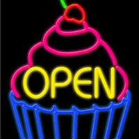Open Cupcake Handcrafted Energy Efficient Real Glasstube Neon Sign