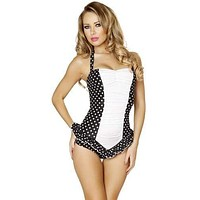 Sexy Black And White Polka Dot Pin Up Vintage One Piece Halter Swimsuit