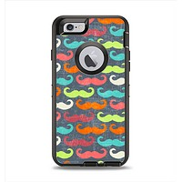 The Colorful Scratched Mustache Pattern Apple iPhone 6 Otterbox Defender Case Skin Set