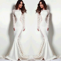 US Stock New Fashion Womens Long Sleeve Lace Embroidery Cocktail Prom Maxi Dress