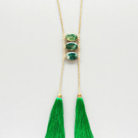 Emerald Quartz & Silk Tassels Necklace