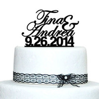 Wedding Personalized Cake Topper Custom Name Date Wedding Cake Toppers Acrylic Cake Topper Proposal bride to be Party Supplies