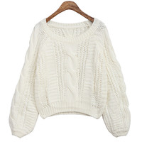 Lantern Sleeve Braided Knitted Sweater Pullover