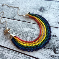 Star Necklace, Colorful Statement Necklace, Lapis Necklace, Coral Necklace, Multi Strand Necklace,  Chain Necklace, Silver Necklace