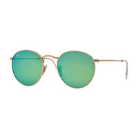 Polarized Round Metal-Frame Sunglasses with Green Mirror Lens - Ray-Ban