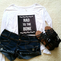 Rad to the bone quote long sleeve tshirt for tween girls, teen girls, and ladies