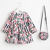 Girls Dress Unicorn Party Children Clothing Princess Dress with Bag Baby Clothes Kids Flower Dresses for Girls Costumes