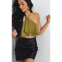 Fashion sexy off shoulder layered backless top