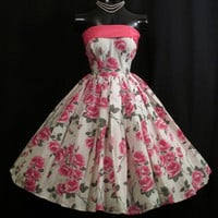 Vintage 1950's 50s STRAPLESS Pink White Roses Floral Print Taffeta Bow Party Prom Wedding Dress Gown