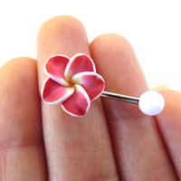 Red Hawaiian Flower Plumeria Tropical Hibiscus Belly Button Ring Hawaii Navel Stud Jewelry