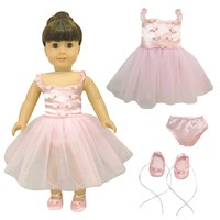 """Doll Clothes Fits American Girl 18"""" Inch Outfit Ballerina Ballet Dress"""