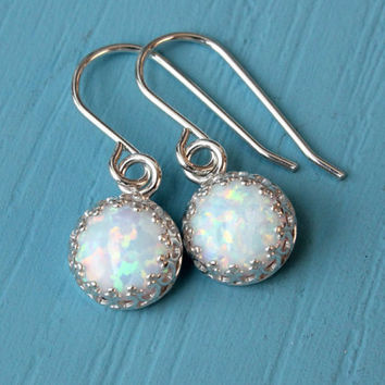 Opal earrings, 925 sterling silver with 8 mm white lab opal October birthstone, bridal earrings, gift for bridesmaid, Christmas gift for her