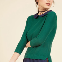 Classroom Charisma Sweater in Forest   Mod Retro Vintage Sweaters   ModCloth.com