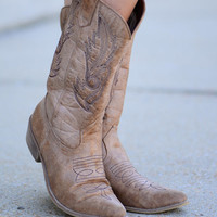 Take Me Away Cowboy Boots, Tan