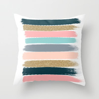 Zara - Brushstroke glitter trendy girly art print and phone case for young trendy girls Throw Pillow by CharlotteWinter