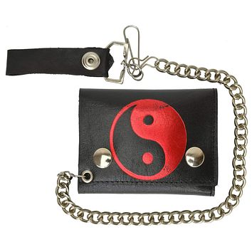 Chain Trifold Genuine Leather Wallet with Red and Black Yin Yang Ball Imprint 946-20 (C)