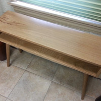 Mid Century Inspired Console Table.  Solid Wood Side Table, Plant Stand, Behind Couch, Small Space Modern Table