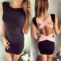 Cross Bandage Hollow Sleeveless Dress