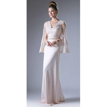 Champagne Long Formal Sheath Dress Embroidered with Split Trumpet Sleeves