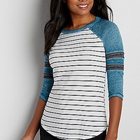 burnwash football tee with stripes | maurices