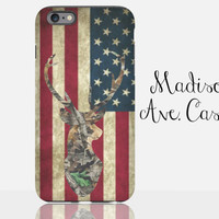 Camo Deer Flag America USA Country Hunting Vintage Guy's Men's Redneck 'Merica Valentine Gift Galaxy Edge iPhone 5s 6 Plus Tough Phone Case