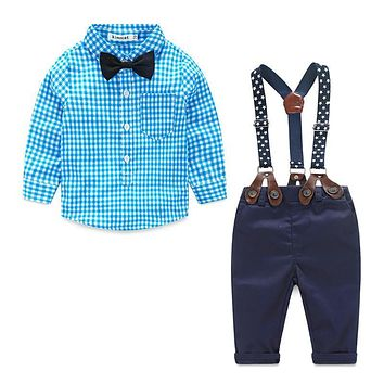 Baby Boy Clothes 2016 Spring New Brand Gentleman Plaid Clothing Suit For Newborn Baby Bow Tie Shirt + Suspender Trousers