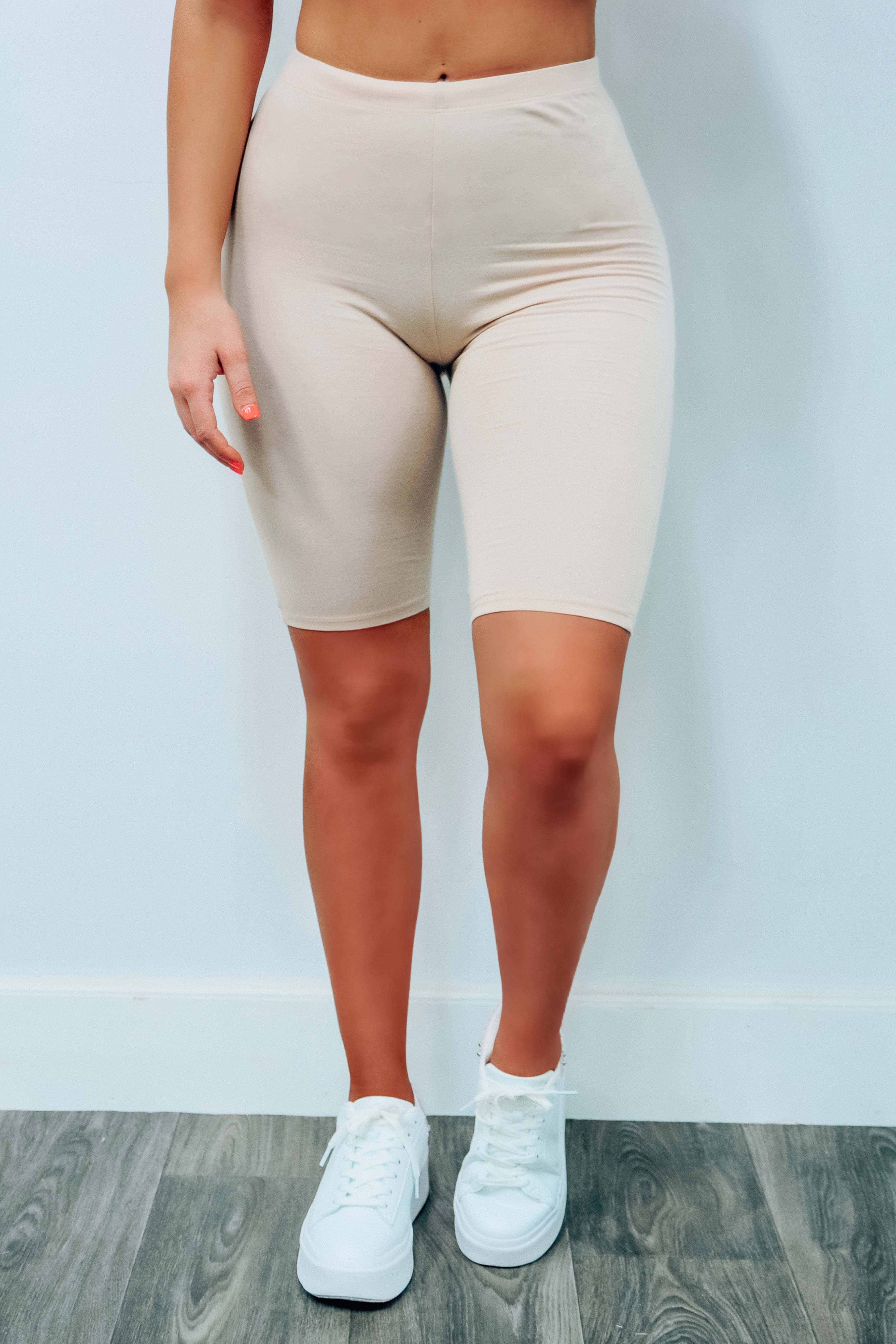 Image of Casual Vibes Biker Shorts: Beige