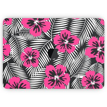"""Tropical Summer Hot Pink Floral - Skin Decal Wrap Kit Compatible with the Apple MacBook Pro, Pro with Touch Bar or Air (11"""", 12"""", 13"""", 15"""" & 16"""" - All Versions Available)"""