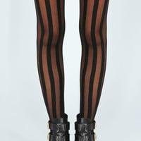 Jenna Sheer With Solid Thick Stripe Tights