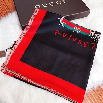 GUCCI Hot Sale Summer Women Scarf Shawl Silk Scarf