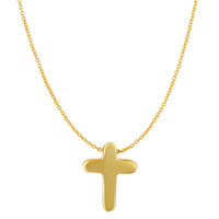 14K Yellow Gold Shiny Cross Pendant On 16 To17 Inch Expandable Necklace